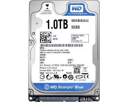 "HD 2.5"" SATA 1TB WESTERN DIGITAL BLUE WD10JPVX"