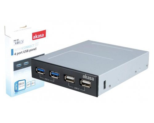 "PANEL INTERNO 3.5"" AKASA 2X USB 3.0 + 2X USB 2.0 NEGRO"