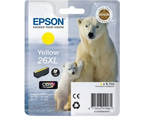 CARTUCHO ORIGINAL EPSON 26XL AMARILLO (T2634)