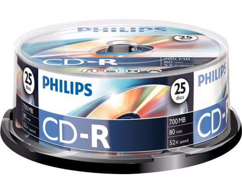 CD-R PHILIPS 700MB 52X TARRINA 25u
