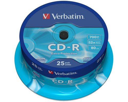 CD-R VERBATIM 700MB 52X TARRINA 25u