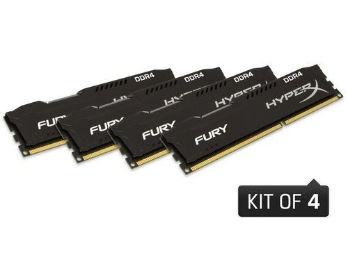 MEMORIA DDR4 2400 KINGSTON HYPERX FURY BLACK 4x8GB