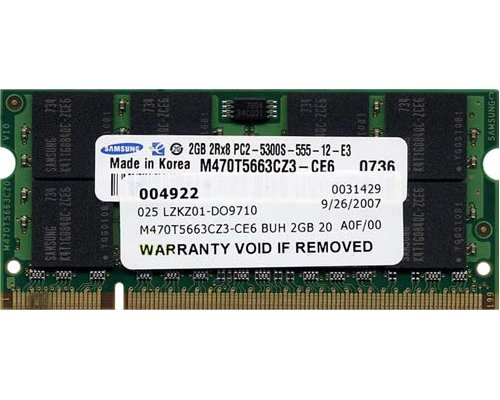 MEMORIA RAM SODIMM DDR2 667 SAMSUNG 2GB COMPATIBLE APPLE