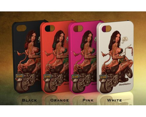 CARCASA APPLE IPHONE4/4S BIKE GIRL NARANJA CLARO