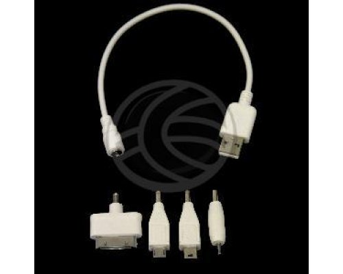 CABLE CARGADOR USB 4EN1 MICROUSB APPLE 30PIN MINIJACK 2.5