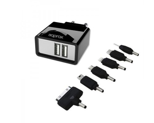 CARGADOR USB DE VIAJE/PARED DUAL+ 6 TIPS BLACK APPROX