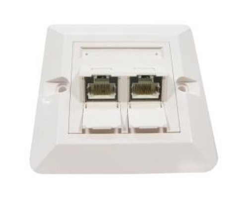 PLACA DE PARED DE 80X80 DE 2 RJ45 CAT.6 FTP