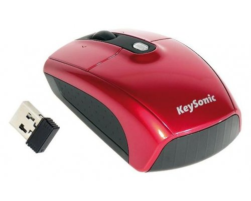 MINI RATÓN ÓPTICO WIRELESS USB KEYSONIC KSM-1000 RF ROJO