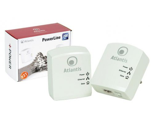 CONJUNTO 2 ADAPTADORES POWER LINE ATLANTIS 200 MBPS HOMEPLUG