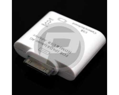 ADAPTADOR USB DATOS Y HDMI PARA APPLE IPAD IPOD IPHONE 30PIN