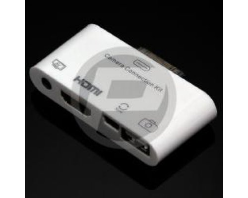 ADAPTADOR USB AV CVBS Y HDMI PARA APPLE IPAD IPOD IPHONE 30P