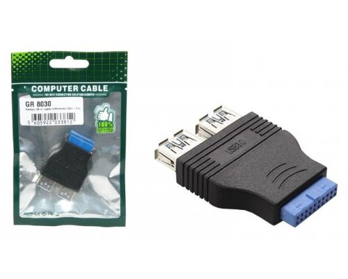 ADAPTADOR USB INTERNO 20 PINES - 2 PUERTOS USB 3.0