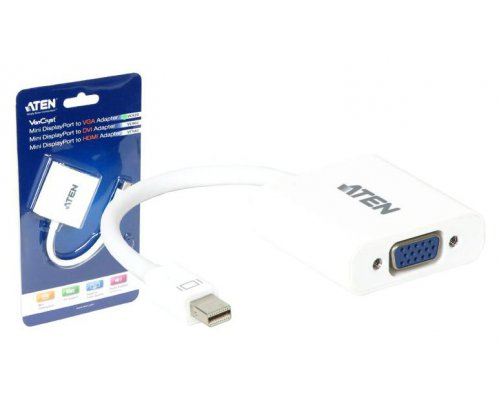 ADAPTADOR ATEN DE MINI DISPLAYPORT A VGA. DVI O HDMI BLANCO