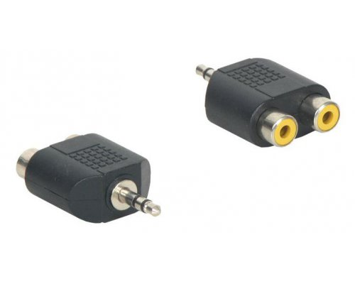 ADAPTADOR AUDIO JACK 3.5MM STEREO MACHO A 2X RCA HEMBRA NEGR